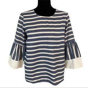 Hannah Striped Back Button Up Bell Sleeve Top